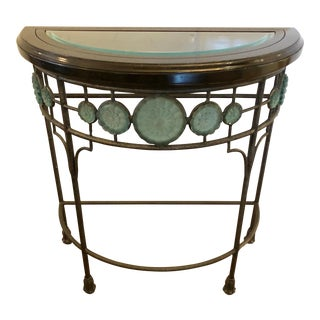 1980s Traditional Iron Demi-Lune Console Table For Sale