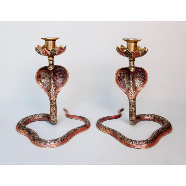 Brass Enameled Cobra Candle Holder - a Pair For Sale In New York - Image 6 of 6