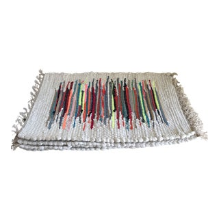 Boho Woven Rag Rug Placemats, Set of Four For Sale