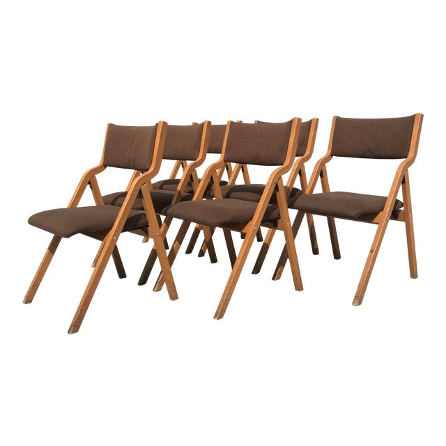 Mid-Century Modern Folding Chairs - Set of 6 For Sale