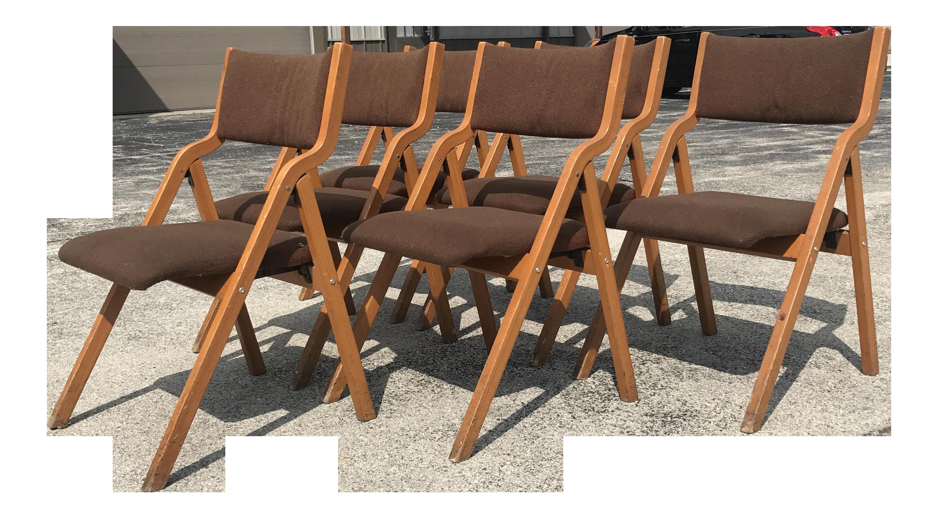 Mid Century Modern Folding Chairs   Set Of 6   Image 1 Of 8