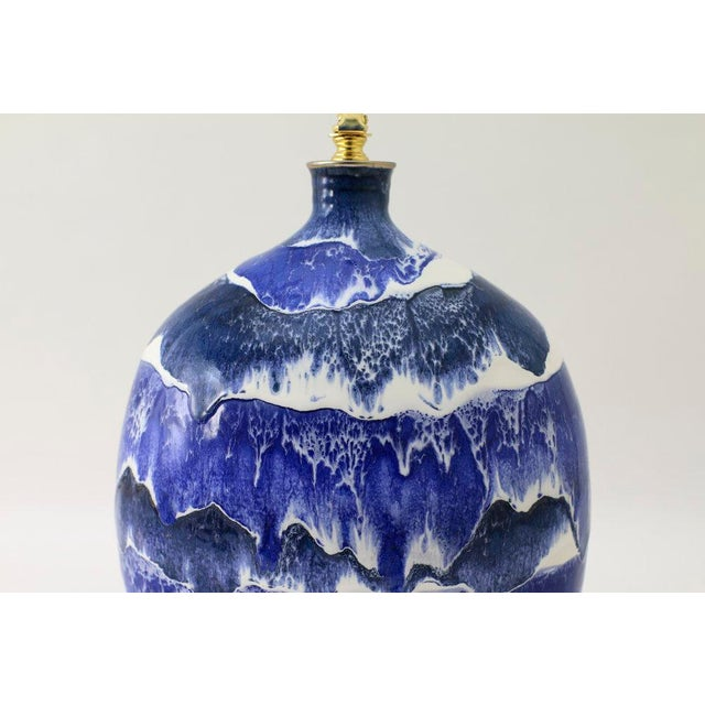 "Paul Schneider Paul Schneider Ceramic ""Marfa"" Lamp in Drip Banded Blue Glaze For Sale - Image 4 of 6"