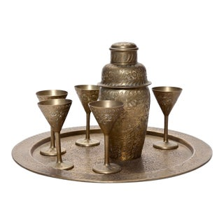 Mid 20th Century Brass Cocktail Set- 8 Pieces For Sale