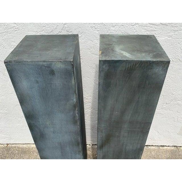 """Pair of industrial Verdigris lead columns Each one stands 48"""" high x 12"""" square."""