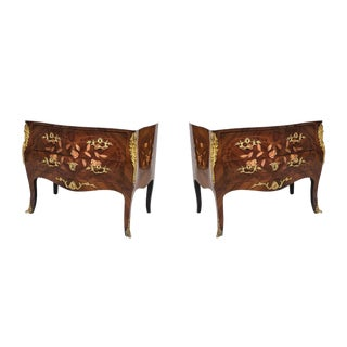 Pair of French Louis XV Style Floral Inlaid Bedside Commodes For Sale