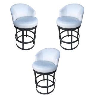 Round Tubular Chrome Bar Stool W/ Swivel Seat, Set of 3 For Sale
