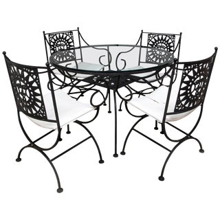 Arthur Umanoff Wrought Iron Sun Table and Four Chairs For Sale