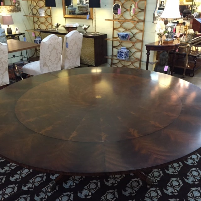 Maitland Smith Round Mahogany Table with Leaves - Image 7 of 9