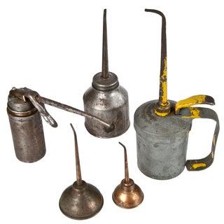 Vintage Rustic Metal Oil Cans - Set of 5