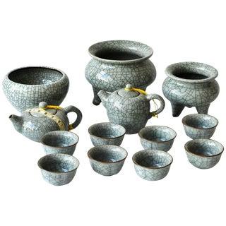 Chinese Porcelain Tea Sets, Incense Burner, 13-Piece Ge Ware For Sale
