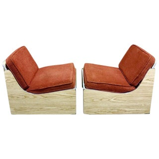1970s Platform Club Chairs - A Pair