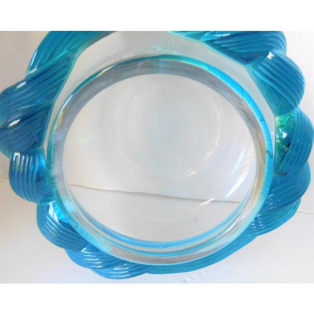 1980s Turquoise and Clear Crystal Vase/Vessel For Sale - Image 9 of 13