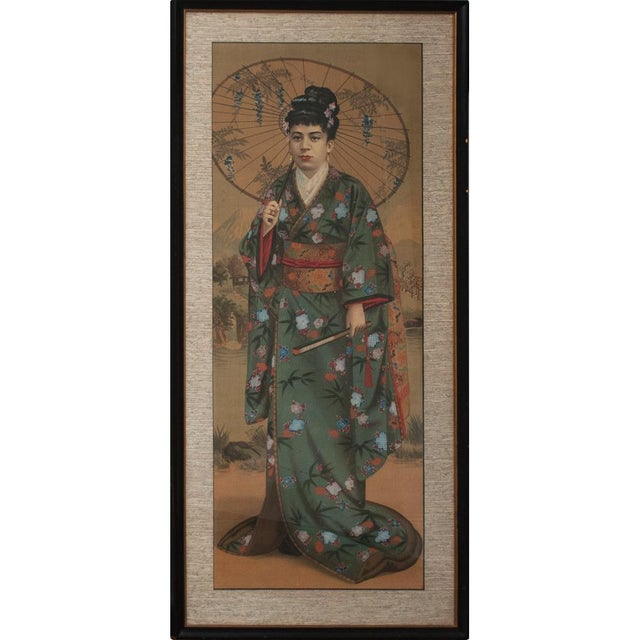 1850s Antique Japanese Silk Portrait of a Noble Lady Panel Painting For Sale - Image 10 of 11