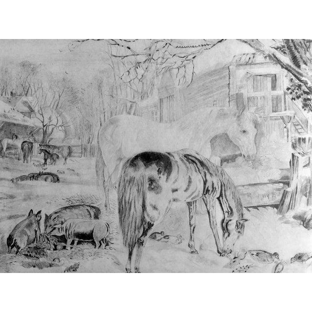 "Original antique Hudson River school pencil drawing C.1850 of horses and barn yard animals Image, 15""L x 11""H. Presented..."