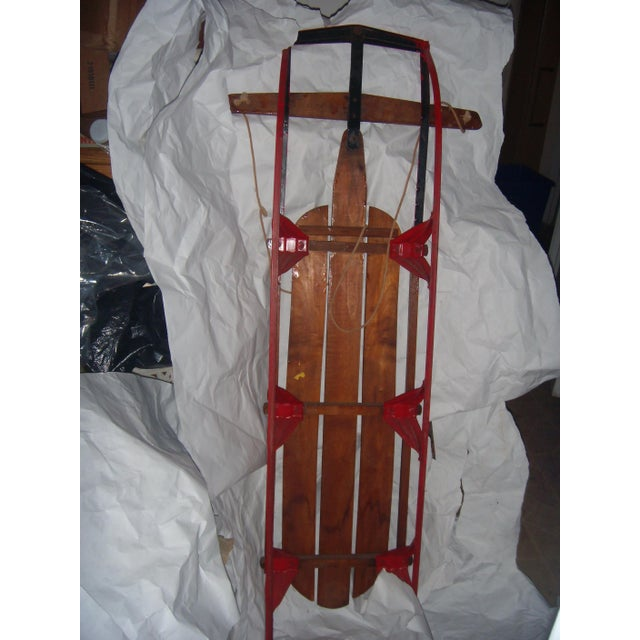 Antique Lightning Glider Wood & Iron Sled - Image 6 of 6