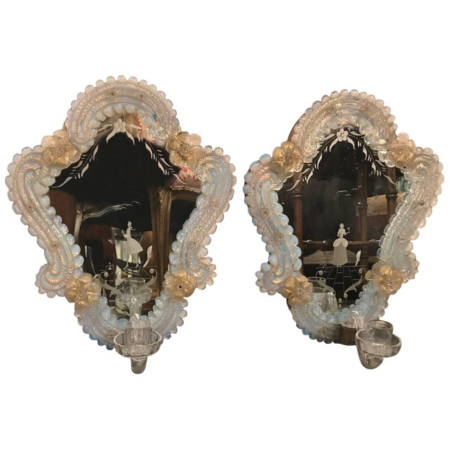 Venetian Glass and Etched Mirrored Candle Sconces - a Pair For Sale