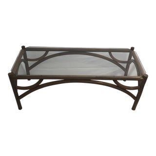Vintage Mid Century Modern Boho Chic Bentwood Rattan Coffee Table With Clear Glass Top For Sale