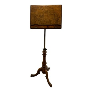 Antique Burled Wood Adjustable Music Stand For Sale