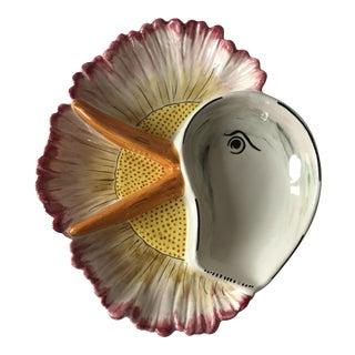 Italian Majolica Goose Floral Platter