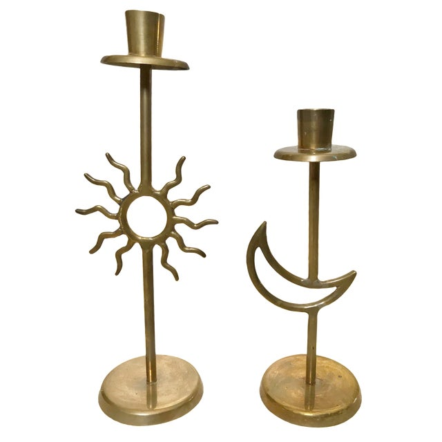 Vintage Sun & Moon Brass Candle Holders - A Pair For Sale