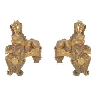 Louis XB Bronze Dore Sphinx Andirons For Sale