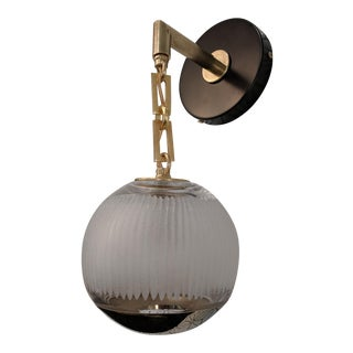 Modern Globe Sconce in Solid Brass Chain and Carved Glass For Sale