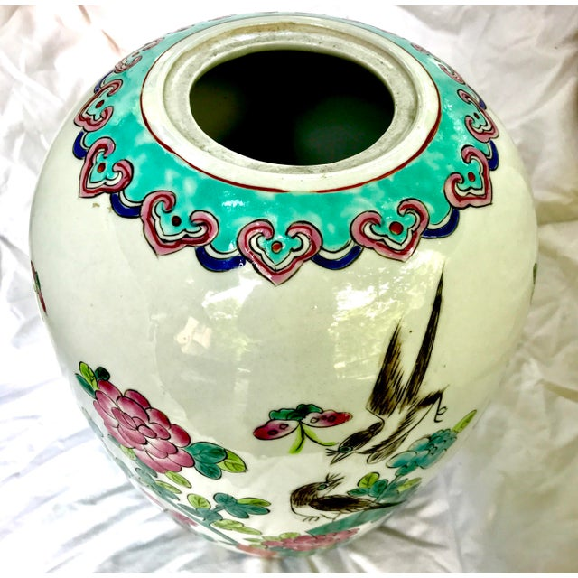Vintage Large Chinese Famille Rose Mellon Shaped Vase - Image 5 of 6