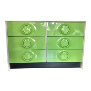1970s Space Age Modern Treco Lime Green Six Drawer Dresser For Sale