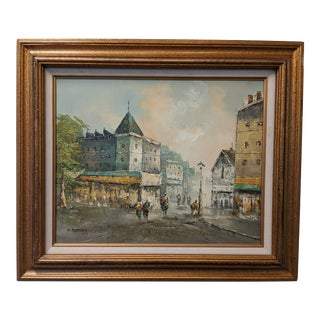 Original Street Scene Oil on Canvas Painting by D Memory For Sale