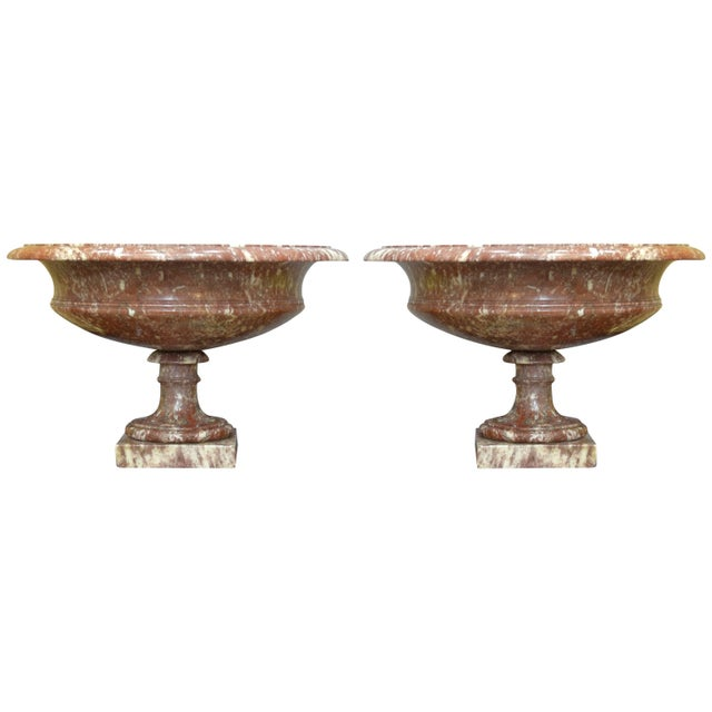 Stone 19th Century Turned Rossa Verona Marble Tazzas - a Pair For Sale - Image 7 of 7