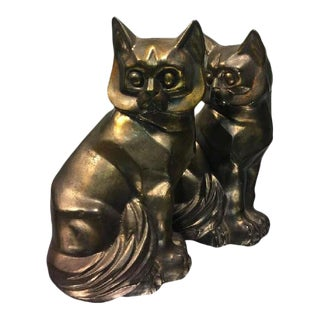 Art Deco Style Cast Metal Cubist Cat Form Bookends - a Pair
