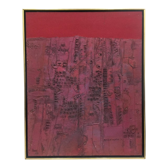 Pink & Red Brutalist Abstract Mid Century Painting - Image 1 of 6