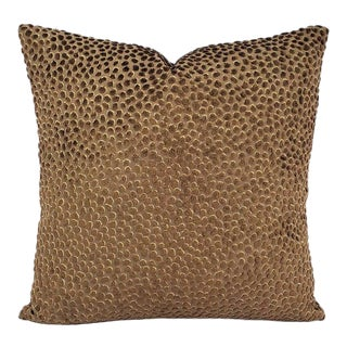"Gp & J Baker Lifestyle Cosma in Chocolate Pillow Cover - 20"" X 20"" Brown Raised Velvet Dots Square Cushion Cover For Sale"