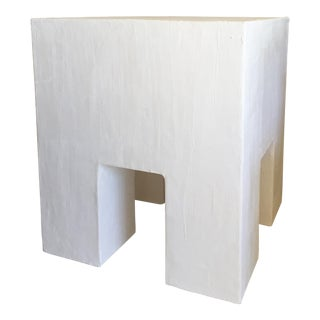 Minimalist Raw Plaster Chunky Night Stand For Sale
