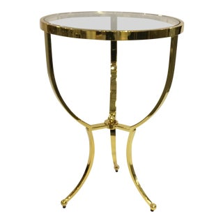 Bernhardt Modern Glass and Brass Tripod Side Table For Sale