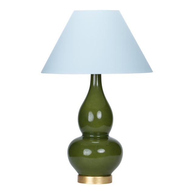 Casa Cosima Double Gourd Table Lamp, Olive Craquelure/Blue Stream Shade For Sale