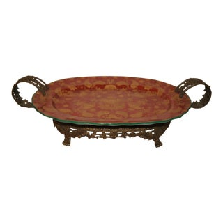 Wong Lee Porcelain Platter With Brass Handles For Sale