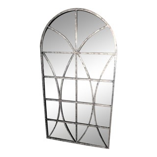 Arched Mirror With Window Panes Wall Panels Antique Silver Finish For Sale
