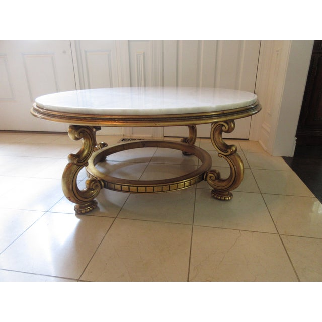 Italian Gold & Marble Coffee Table - Image 2 of 11