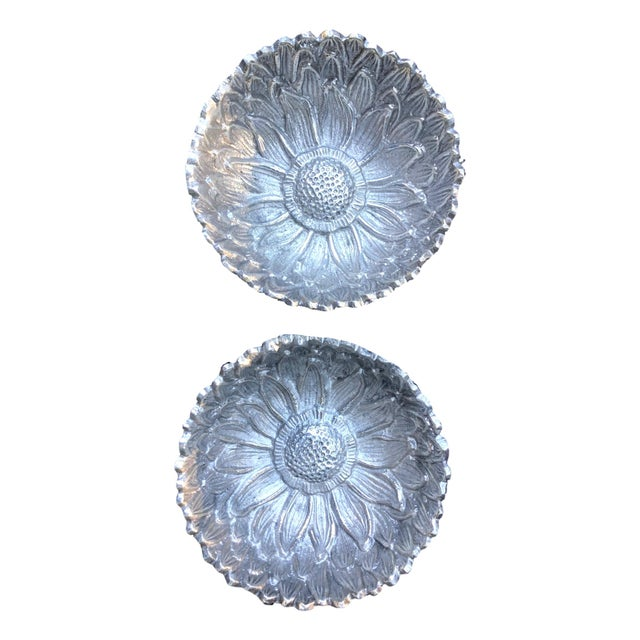 Macy's Antique RH Macy Silver Pewter Daisy Motif Serving Bowl - A Pair For Sale - Image 4 of 4