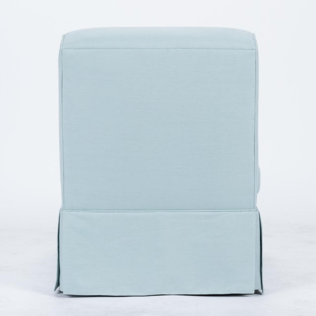 English Traditional Casa Cosima Baldwin Skirted Slipper Chair in Porcelain Blue For Sale - Image 3 of 7