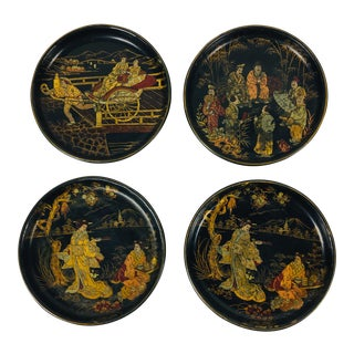 Chinese Hand Painted Lacquered Dishes – Set of 4 For Sale