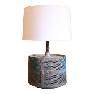 Industrial Vintage French Metal Table Lamp For Sale