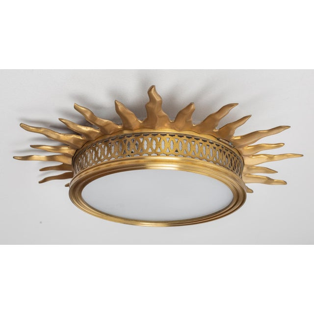 Late 20th Century Sun Burst Gilded Bronze Ceiling Fixture For Sale - Image 5 of 5