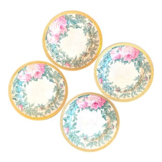 Late 19th Century Minton Rose Cabinet Dinner Plates Set of 4 For Sale