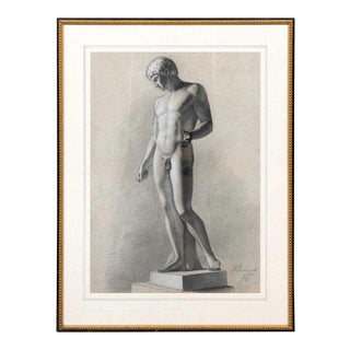 French Grand Tour Study Drawing of an Roman Antiquity Sculpture of a Youth For Sale