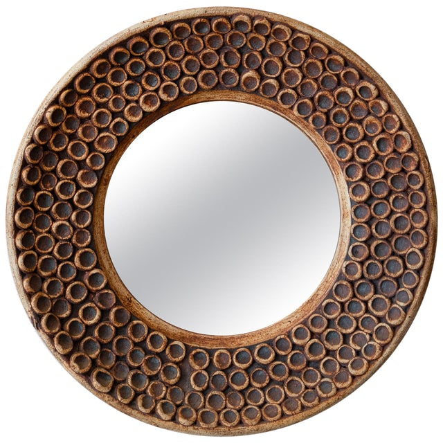 Ceramic Wall Mirror, 1960s For Sale