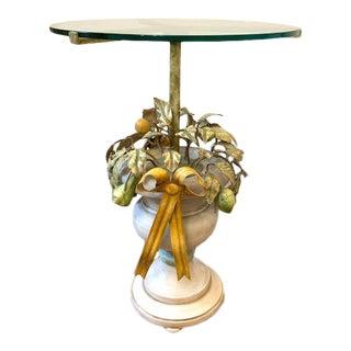 Vintage Italian Tole Urn Lemon Bow Side Table For Sale