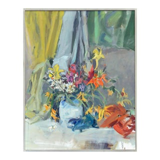 Late 20th Century Abstract Floral Still Life Oil Painting, Framed For Sale