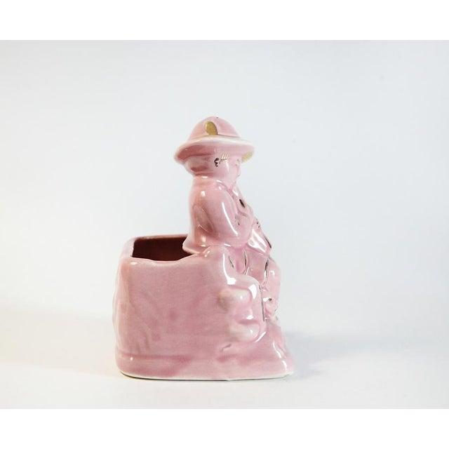 Pink Boy & Sheep Figurine Vase For Sale - Image 5 of 6